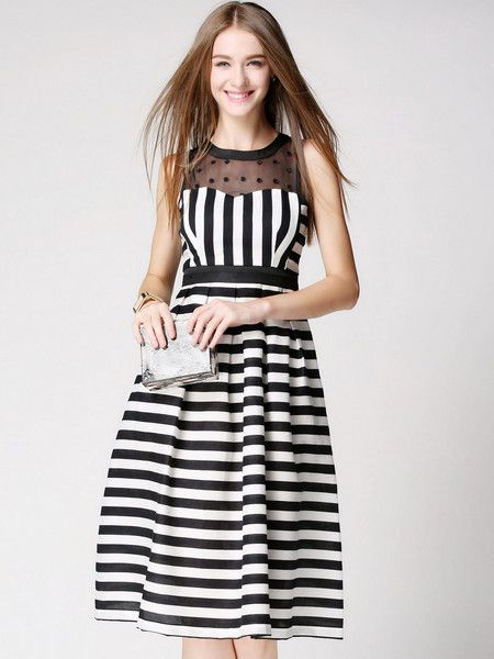 Paneled Net/Polyester Knee Length Dress #stylewe #summer #fashion #women's