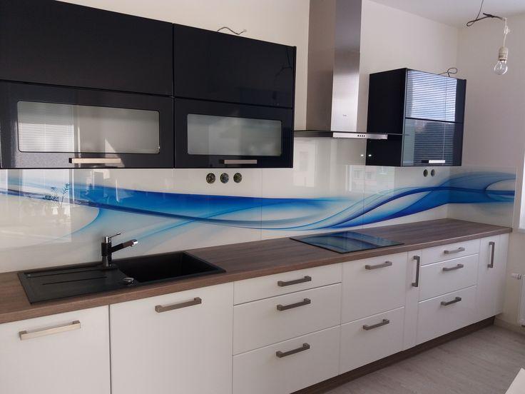 Grafosklo za kuchyňskou linku - modrá