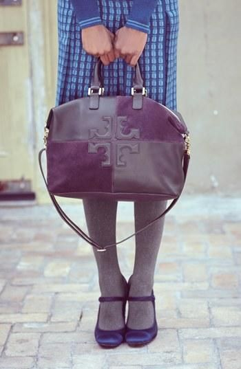 This plum Tory Burch satchel is gorgeous!