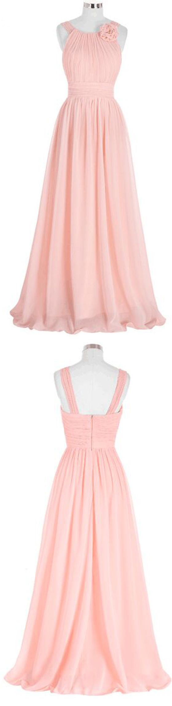 Elegant Pink Bridesmaid Dress,Long Chiffon Beach Bridesmaid Dresses,2017 Wedding Formal Dress,220060
