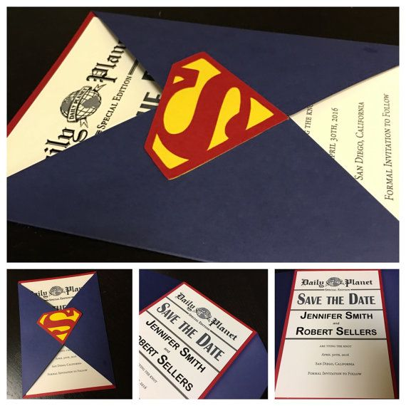 Save The Date  Superman Wedding Invitation  by AmiraDesign on Etsy