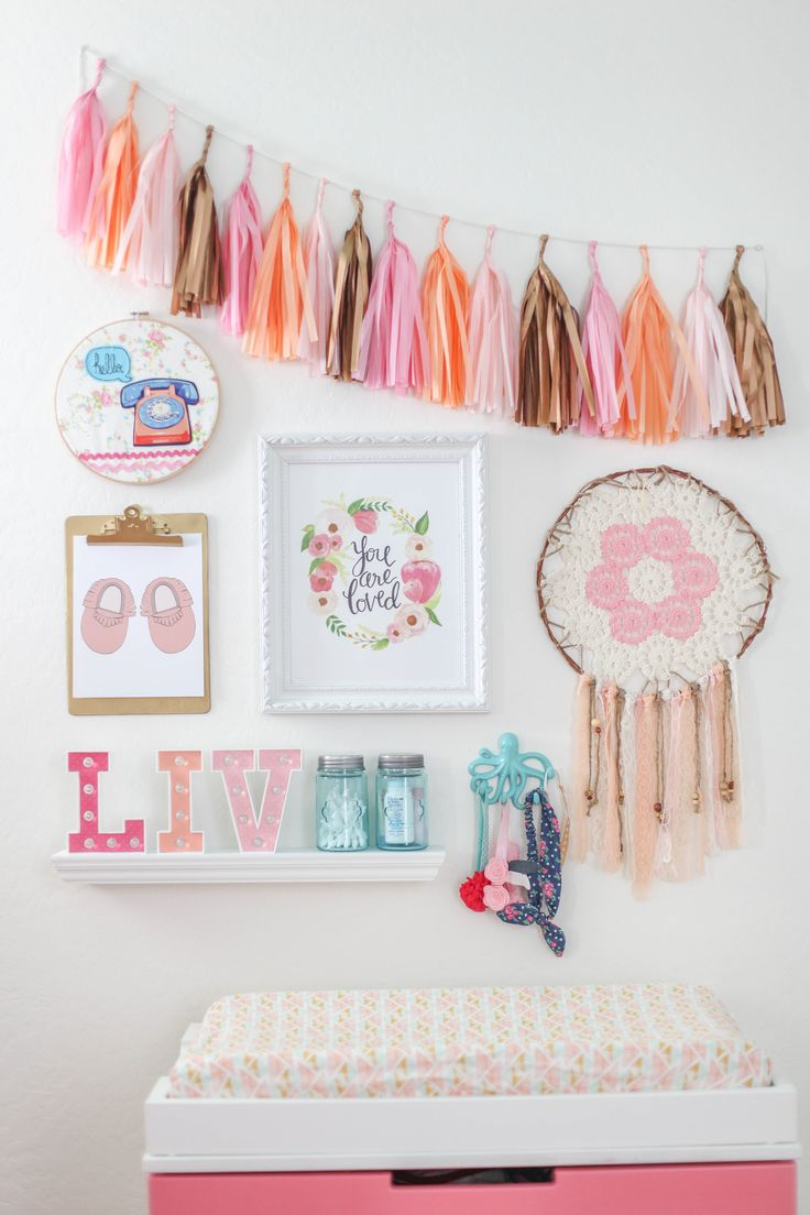 Pink mint and gray baby girl nursery project nursery - Design Reveal Boho Chic Nursery