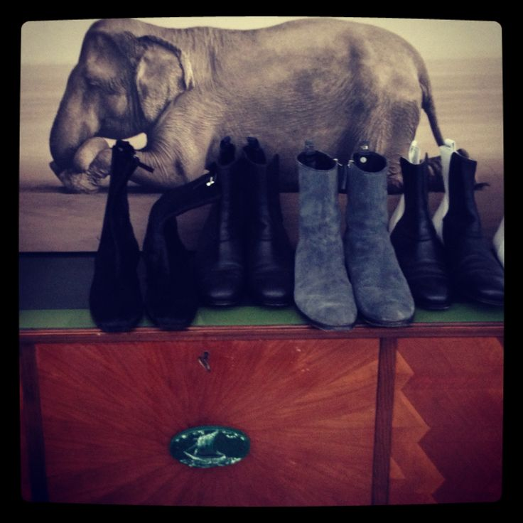 Gregory Colbert' Elephant, Memento Duo boots and my vintage consolle