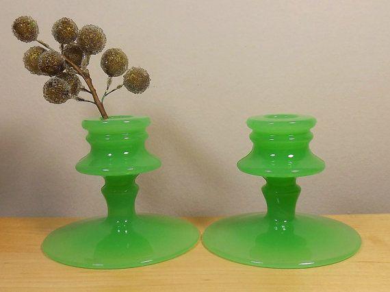 Vintage Jadite Depression Glass Candleholder Set by TheGreenFinch, $62.00