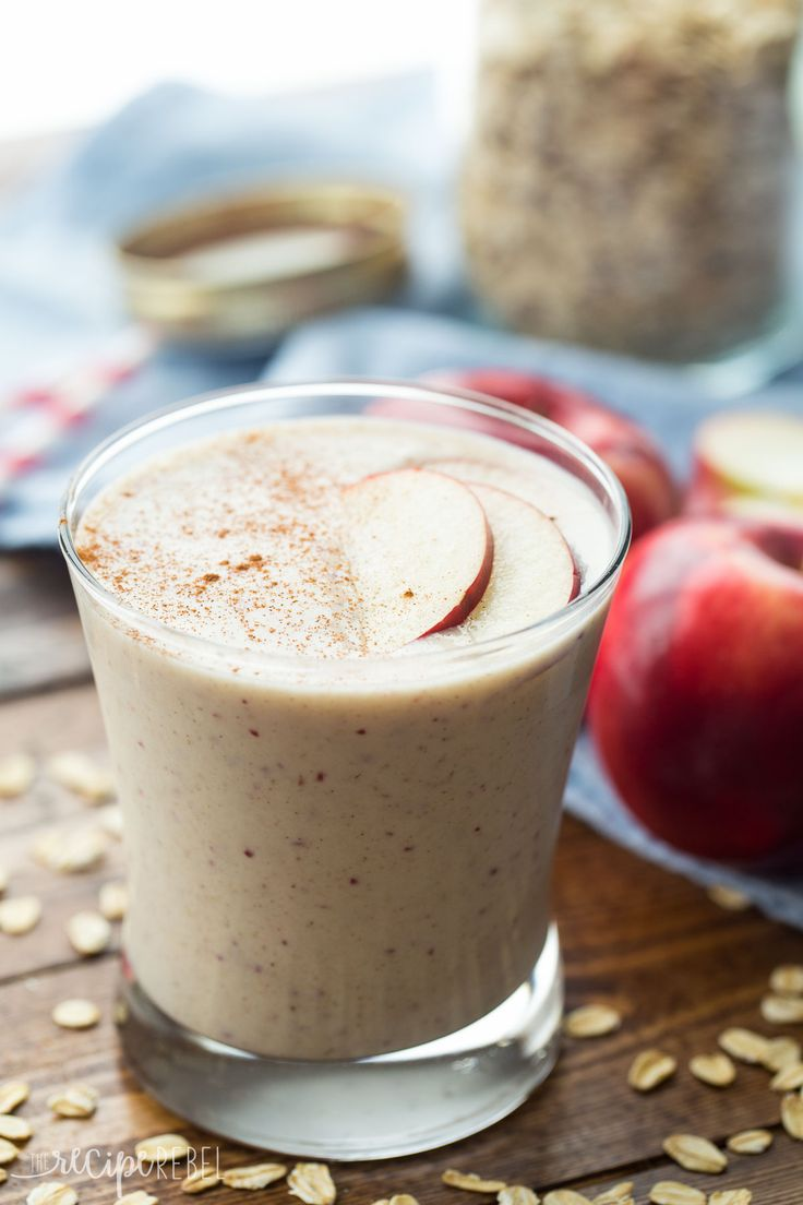 This Apple Crisp Smoothie has all the flavors of this favorite dessert -- apple, oats, and cinnamon -- in a healthy smoothie that's perfect for breakfast (or a healthier dessert!).