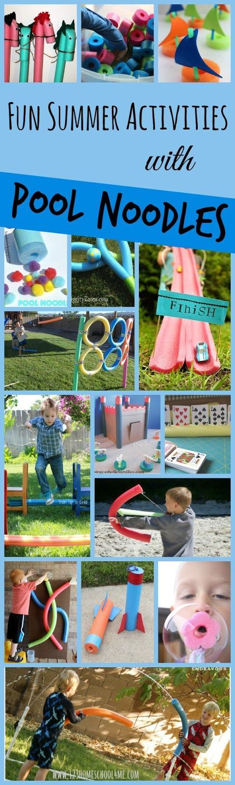 Fun Summer Activities with Pool Noodles - over 30 creative and outrageously fun kids activities for summer. Great for kids of all ages; outdoor and indoor activities.