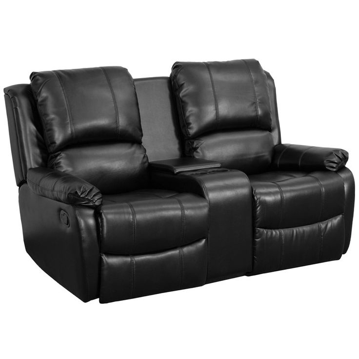 Charming Allure Series 2 Seat Reclining Pillow Back Black Leather Theater Seating  Unit With Cup Holders