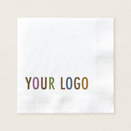 Custom Printed Beverage Napkins with Company Logo - corporate business cyo personalize customize