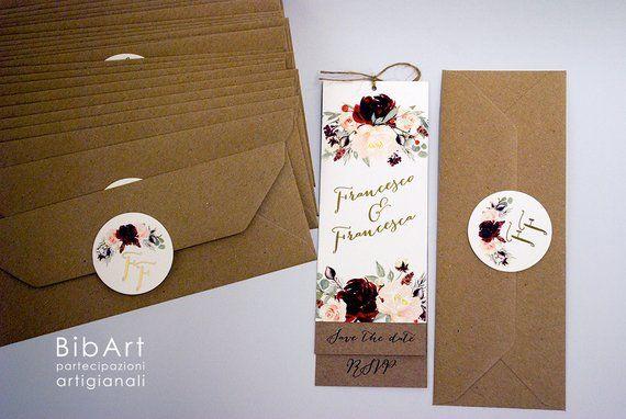 Partecipazioni Matrimonio Segnalibro.Invito Nozze Segnalibro Gold E Winter Flower Inviti Di Nozze