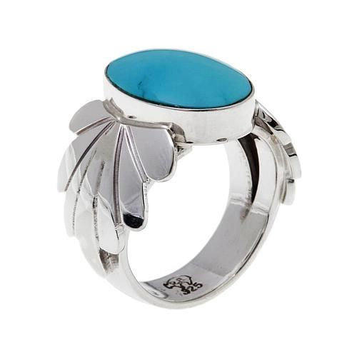 Chaco Canyon Southwest Jewelry Chaco Canyon Kingman Turquoise Oval Sterling Silver Ring