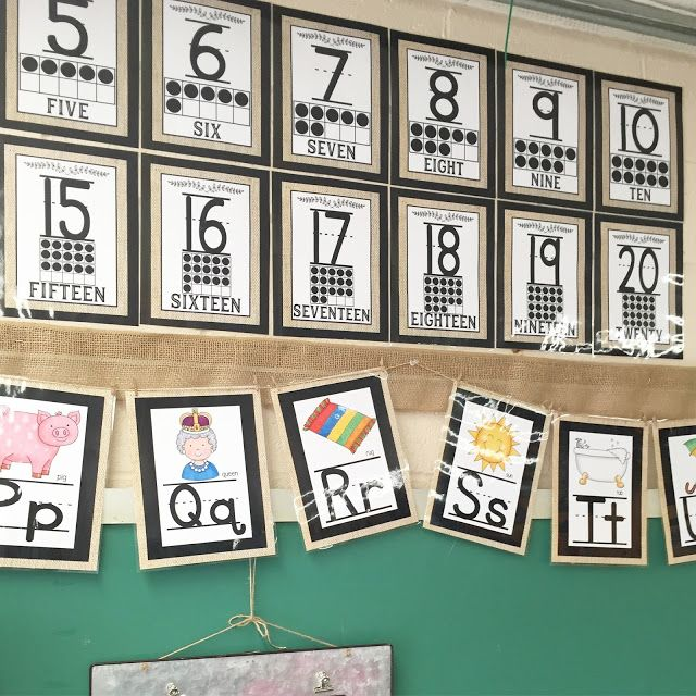 Farmhouse Style number posters and student alphabet posters with burlap and black
