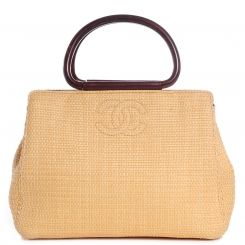 CHANEL Woven Straw Raffia Wooden Handles Bag
