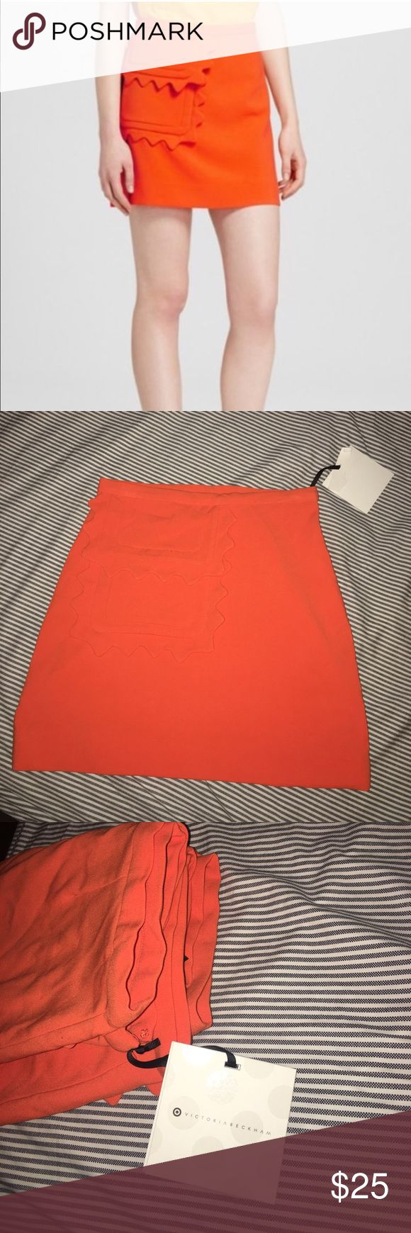 ‼️NWT VB x Target Scalloped Orange Skirt‼️ BNWT Victoria Beckham for Target orange scalloped detailed skirt. Super cute and easily transitioned into fall when paired with tights and ankle boots! Purchased with markings on inside tag. IF YOU NEED MORE PICTURES PLEASE COMMENT OF WHERE AND I WILL TAKE THEM. DO NOT BUY ANY LISTINGS FROM ME IF YOU HAVE ANY QUESTIONS WITHOUT ASKING FOR PICTURES TO CLARIFY. THANK YOU FOR YOUR HELP TO HAVE CLEAR COMMUNICATION BETWEEN BUYER AND SELLER. Victoria…