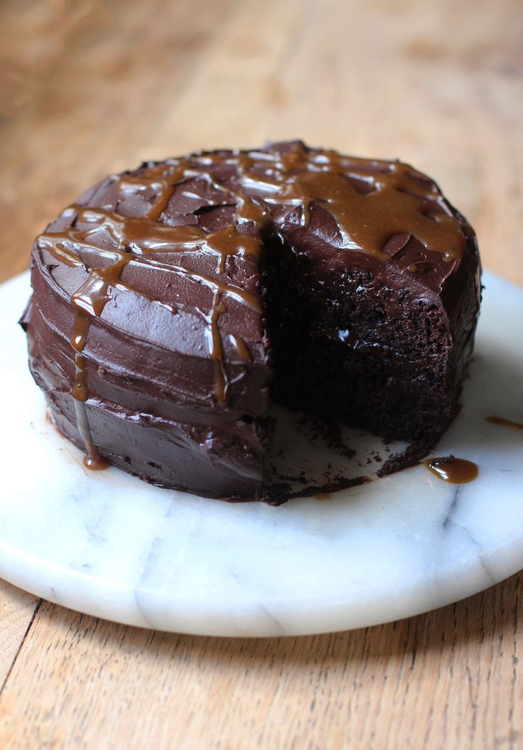 Chocolate Caramel Brownie Cake - dairy, egg, wheat, gluten and can sugar free! Vegan!
