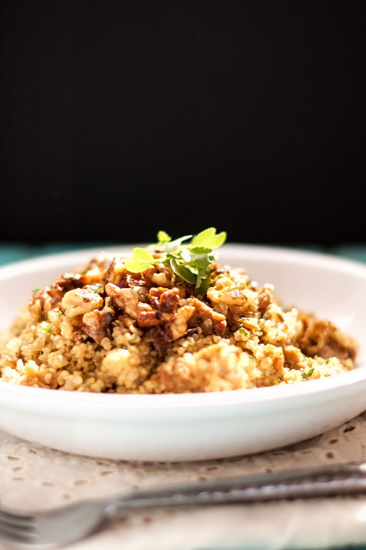 Quinoa with Sausage, Pears and Candied Walnuts - Cooking Quinoa