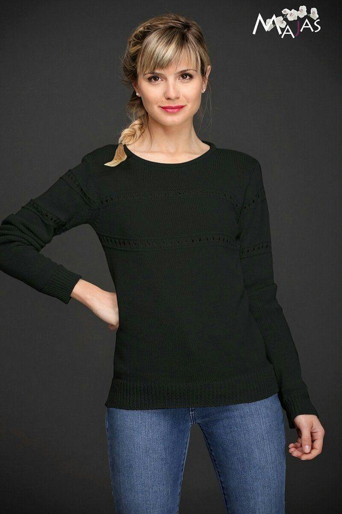 Hermoso sweater con detalle de calado hasta debajo del busto y mitad de mangas Cuello redondo Elastico en morley Talle Unico (S- M - L)