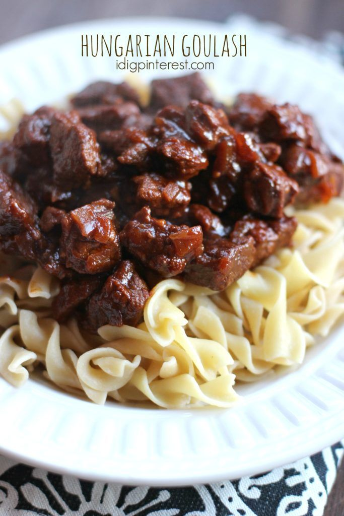 Hungarian Goulash. A flavorful, saucy, tender beef stew served atop a bed of egg noodles…Hungarian Goulash will be an instant family favorite!