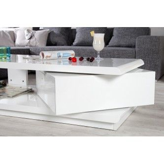 Table basse design Taylor blanc/blanc laqué