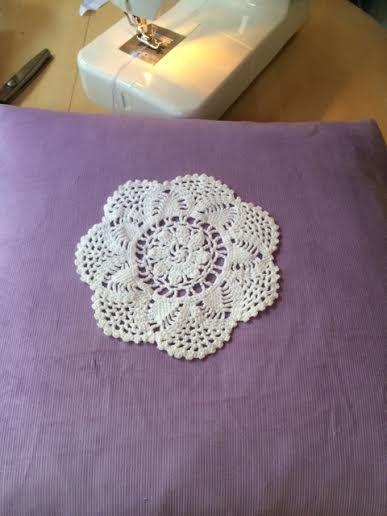 Vintage Handmade Doily Cushion soft cord purple fabric with crochet doily by TheCraftyShamrock on Etsy