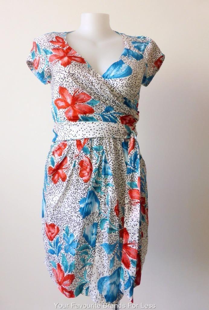 Leona Edmiston Dress Size 14 or US 10 Mock Wrap Short Sleeve in Clothing, Shoes…