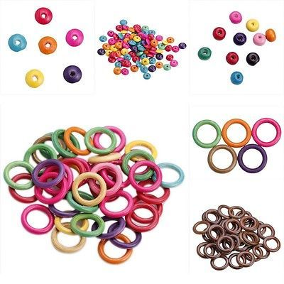 Wholesale Rondelle Loop Ring Wooden Loose Charm Beads DIY Bracelet Fashion Craft