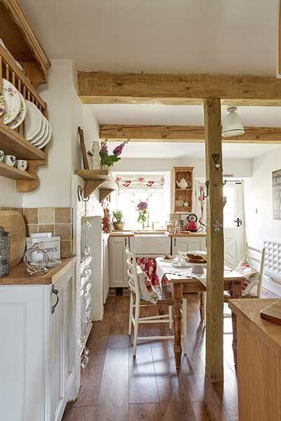 stone cottage country kitchen with wooden beams - Stone Cottage Interiors