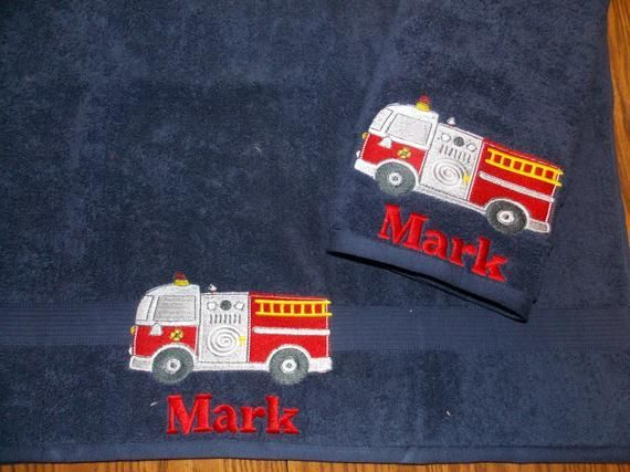 Fire Truck Personalized Towel Sets