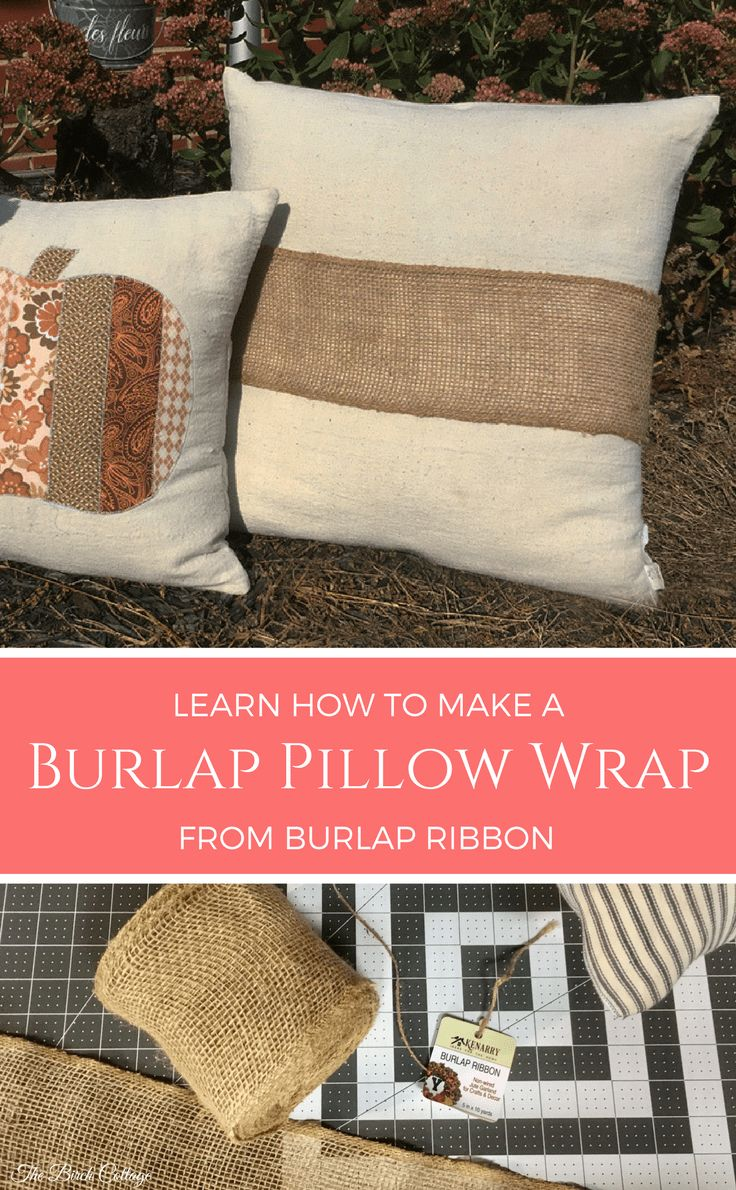 Make a No Sew Burlap Pillow Wrap from