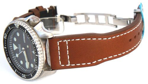 Aviator Hand Made Brown 22mm Calf Leather watchstrap For Seiko Watches