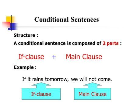Conditional Sentences Structure : A conditional sentence is composed of 2 parts : If-clause+Main Clause Example : If it rains tomorrow, we will not come.