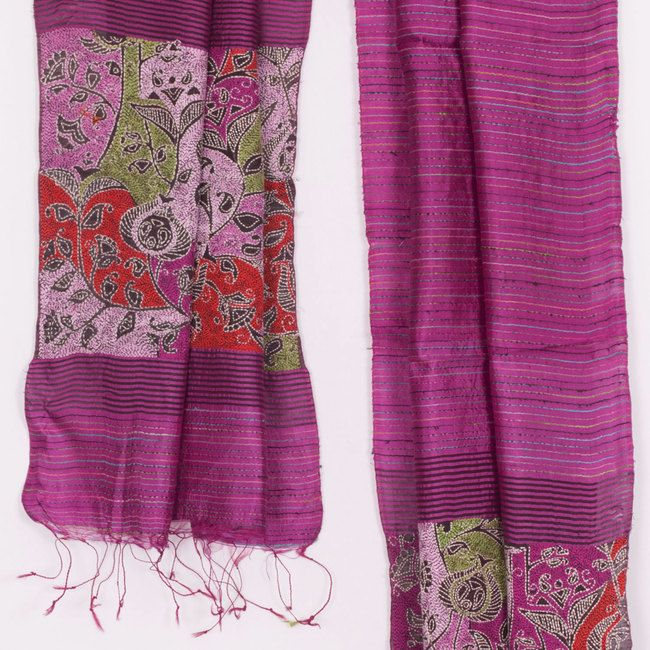 Hand Crafted Purple Flamingo Kantha Embroidered Silk Stole With Floral Motifs 10016087 - AVISHYA.COM