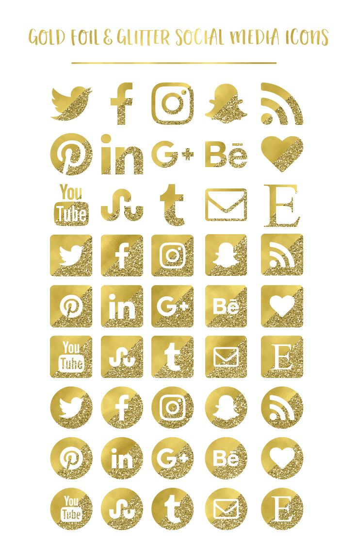 Gold Social Media Icons Buttons Website Icons Gold Foil