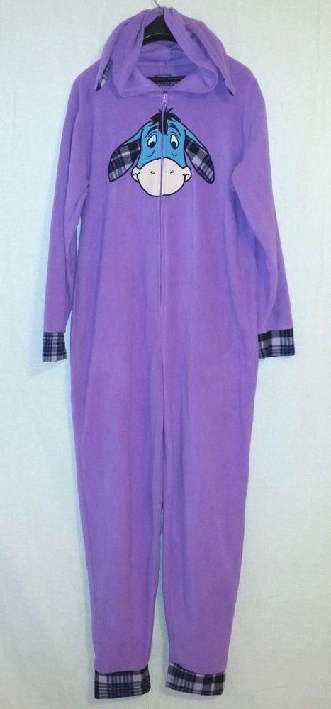 Disney Eeyore womens XL 16-18 purple one piece fleece hooded long sleeve pajamas…