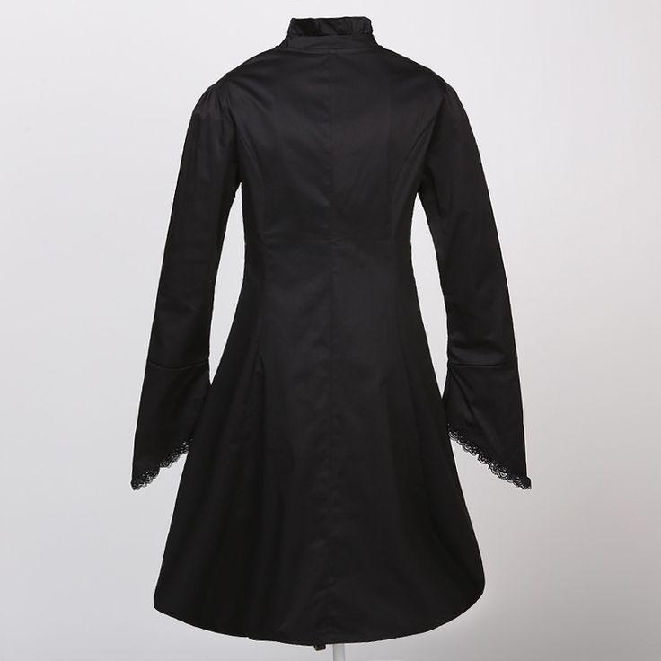 Черный хлопок стенд воротник длинный рукав длинные викторианской готический рубашки женские блузки 2017 Vintage стимпанк Одежда blusas femininas