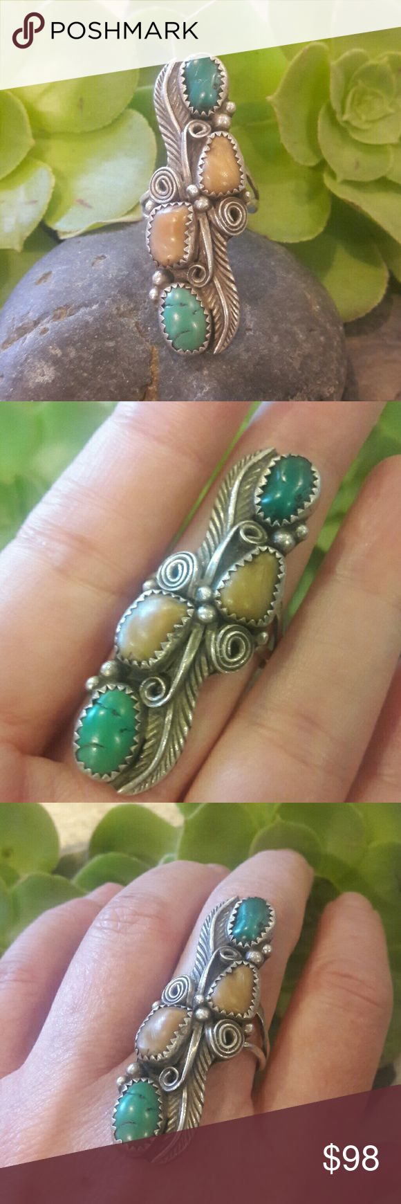 "Vintage SS Navajo Turquoise/Spiny Oyster Ring Beautiful green Turquoise stones and spiny oyster stones, large ring that is 2"" Long x 1/2"" Wide. Makers mark AP inside band. Beautiful ring tested for Sterling by my jeweler. Vintage Jewelry Rings"