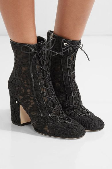 Laurence Dacade - Milly Leather-trimmed Lace Ankle Boots - Black - IT37.5