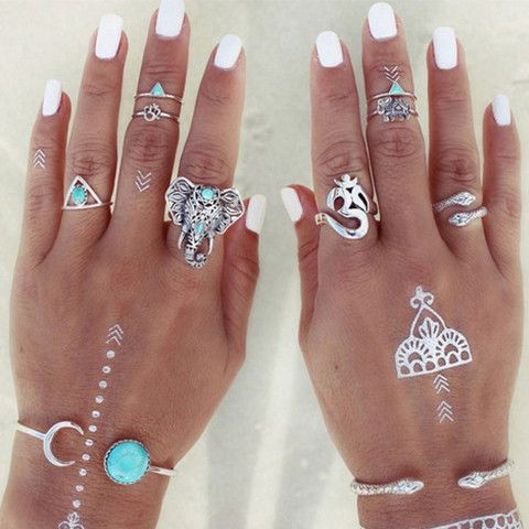 Boho Retro Rings - Rebel Style Shop - Complete your Boho Chic outfits with this exquisite 8-piece set of Turkish-inspired retro rings. Featuring elephant, cobra and other Turkish symbols, the set will surely spice up your look. Wear it all at once or separately, and make our fingers stand out!