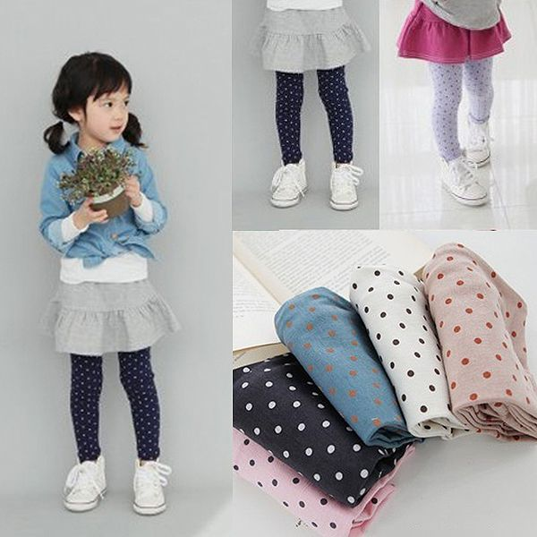 Free Shipping Baby Girls Cotton Dot Pants Candy Color Kids Panty-hose Leggings Free&Drop shipping