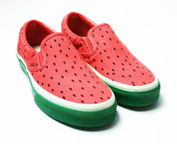 Womens Slip On Shoes With Fruit Patches