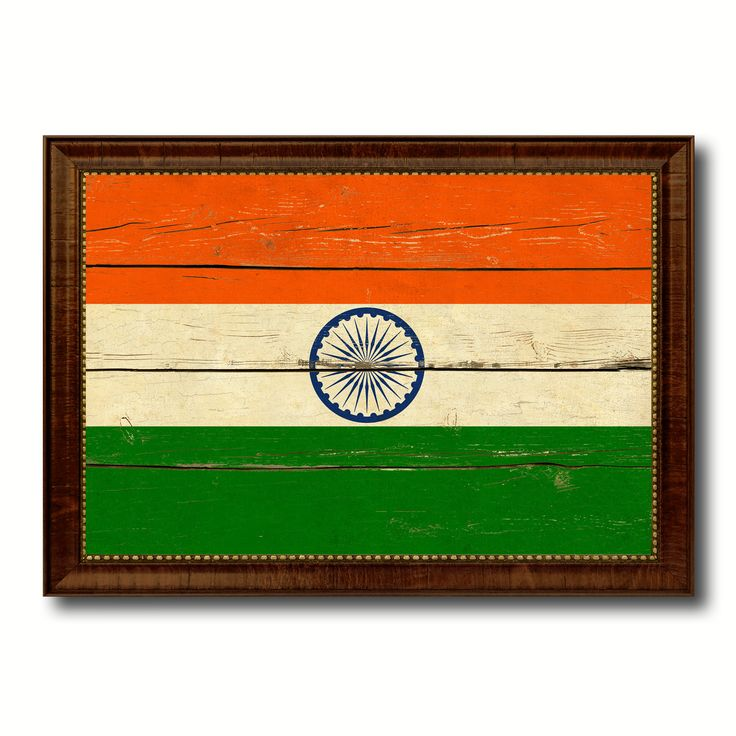 India Country Flag Vintage Canvas Print with Brown Picture Frame Home Decor Gifts Wall Art Decoration Artwork
