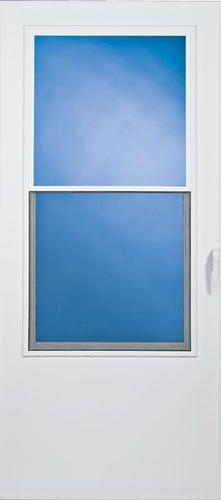 Larson lincoln 32 x 80 white vinyl clad self storing for Vinyl storm doors