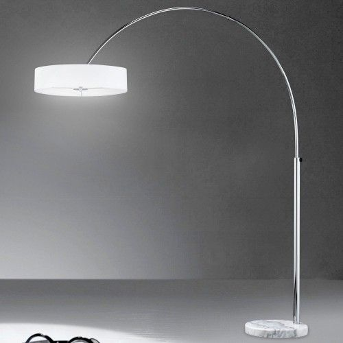 Schirm Bogen ↥2050mm/ Modern/ Stoff/ Weiß/ Chrom/ Textil/ Stand Bogenlampe Bogenleuchte Schirmlampe Schirmleuchte Standlampe Standleuchte Stehlampe Stehleuchte Stofflampe Stoffleuchte