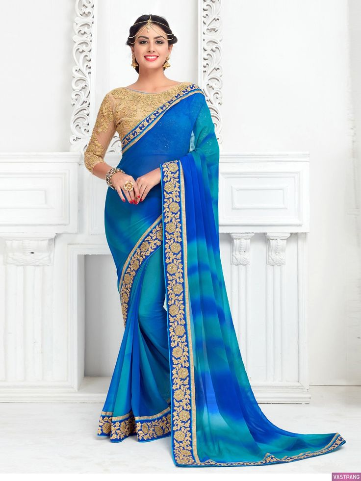 Exclusive Golden Embroidery Lace Work Blue Classic Saree