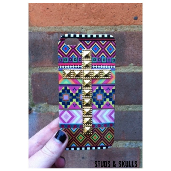 Pink Aztec Tribal Gold Dotted Cross Studded Matte iPhone 4 4S Phone... ($16) ❤ liked on Polyvore