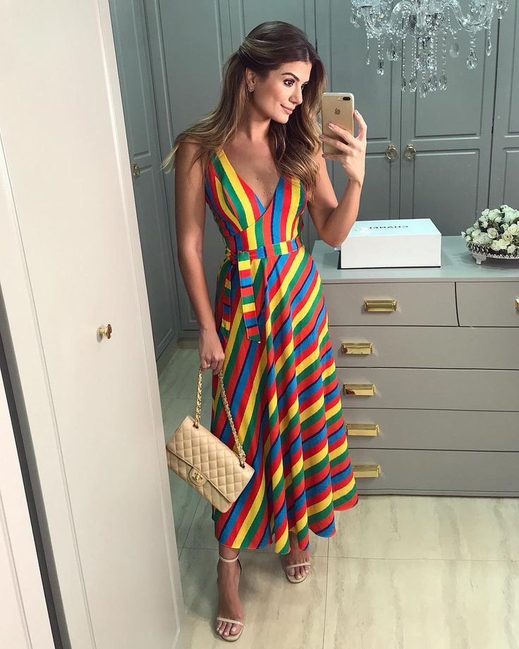 {Rainbow colors🌈} Vestido midi @anahovastore ♥️ • #ootn #selfie #blogtrendalert | Moda in 2019 | Pinterest | Dresses, Lovely dresses and Rainbow colors