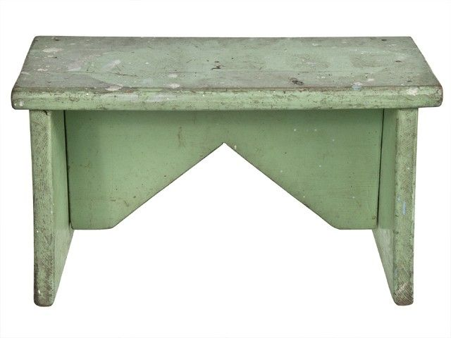 vintage handmade solid wood green foot stool relique