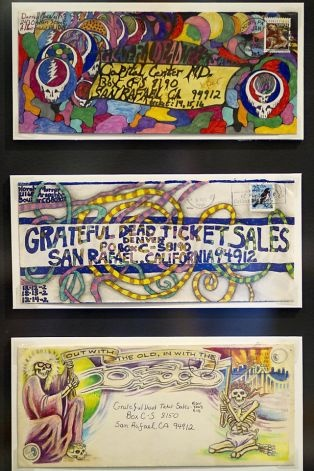 Fan art on envelopes was encouraged by the Grateful Dead with promises of free tickets for the best artwork. The Grateful Dead Archive has opened to the public on the University of California Santa Cruz's McHenry Library this week. Photo: Sean Culligan, The Chronicle / SF