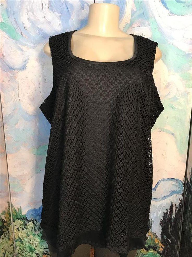 Liz Lange Plus 2X New Black Crochet Overlay Scoop Neckline Sleeveless Tunic Top #LizLange #Tunic #EveningOccasion