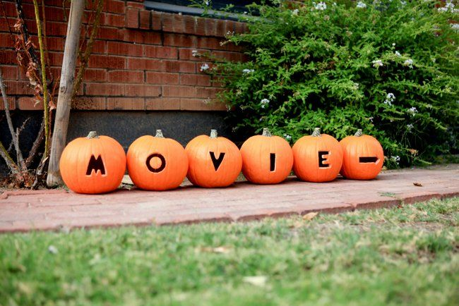 Halloween Movie Night Party :: Emma Magazine~This would be awesome to have your family name carved into them!!