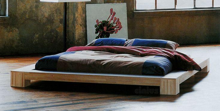 """Cinius - Lit en bois """"Isola"""", Lit japonais à emboîtement sans parties métalliques, lit de style japonais bas"""